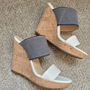Jessica Simpson navy and white striped wedges
